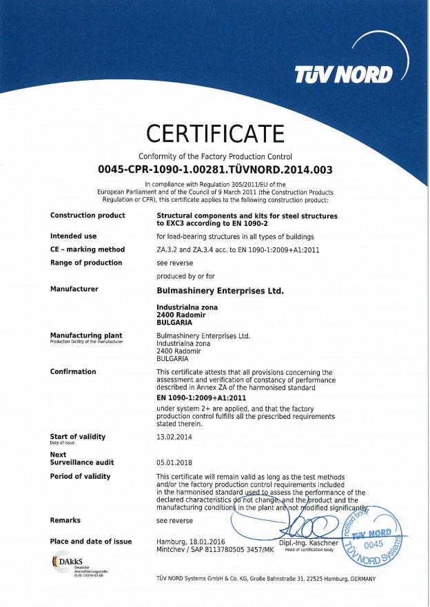 Certificate EN 1090
